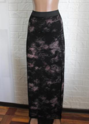 Трикотажная юбка с разрезом lipsy размер l