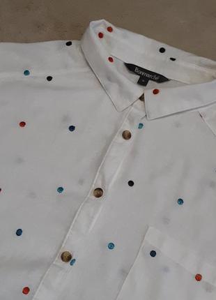 Рубашка с шитьём 55% лён,вискоза свободного стиля размер 16 bonmarche