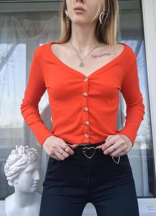 Новый ярко морковный укороченный кардиган реглан