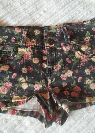 Стрейчевые коттоновые шорты,цветочный принт