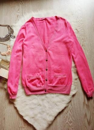 Розовый кардиган свитер на пуговичках серебристыми звездами на локтях кофта длинные рукав