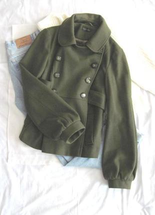 Двубортное оливковое пальто topshop