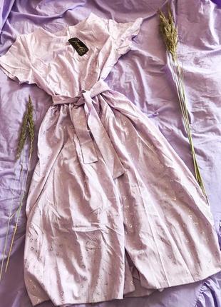Шикарное лиловое платье макси в пол в сердечки