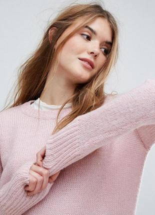 Оверсайз свитер с удлиненной спинкой нежно-розовый new look