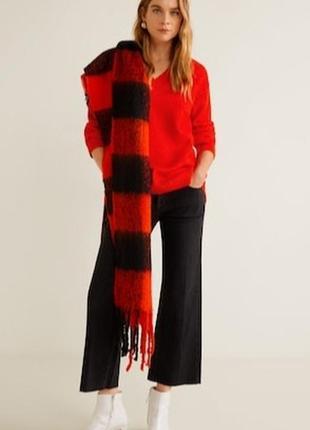 Красный натуральный шерстяной свитер кофта вязаная шерсть мериноса с вырезом