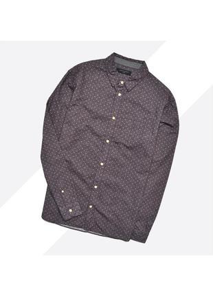 Allsaints l / бордово-фиолетовая мягкая рубашка в мелкий горох