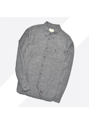 Nudie jeans xl / серая джинсовая рубашка шамбре