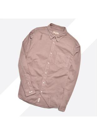 River island xl / состаренная пудровая бледно-розовая рваная рубашка