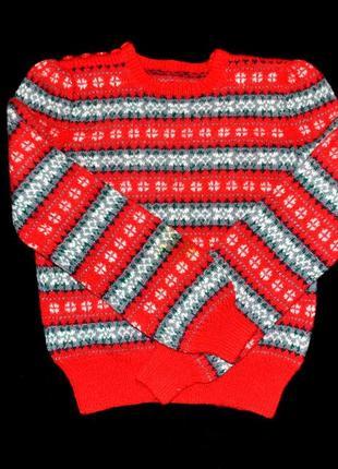 Свитер италия красный узор орнаментом зимний теплый шерстяной яркий