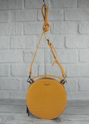 Круглая сумочка через плечо david jones 6145-2 желтая с тиснением под крокодила