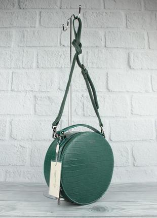 Круглая сумочка через плечо david jones 6145-2 зеленая с тиснением под крокодила