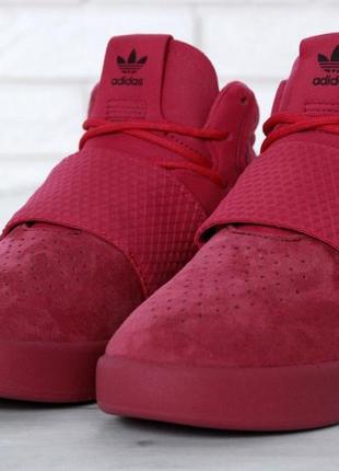 Женские кроссовки adidas tubular invader red.