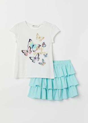 Костюм футболка и юбка h&m на 4-6 лет h&m