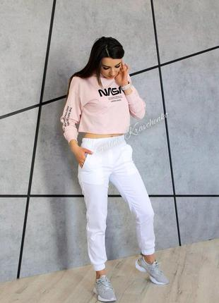 Женские брюки джогеры белые 2887