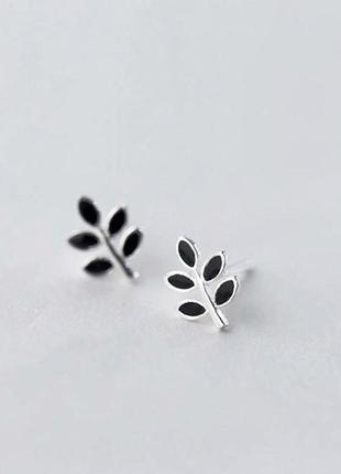 Серебряные серьги листья, сережки, серебро, срвбні кульчики, срібло