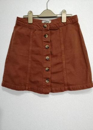 Терракотовая коттоновая юбка на пуговицах, uk 10