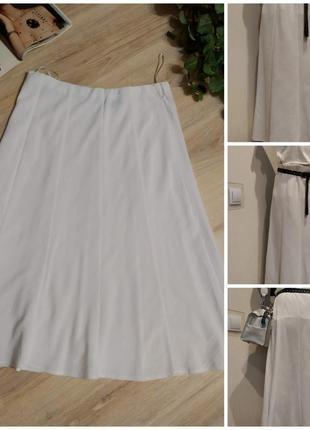 Белоснежная лёгкая тонкая юбка трапеция