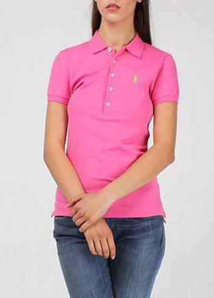 Футболка-поло ralph lauren розового цвета с зеленым логотипом made in peru