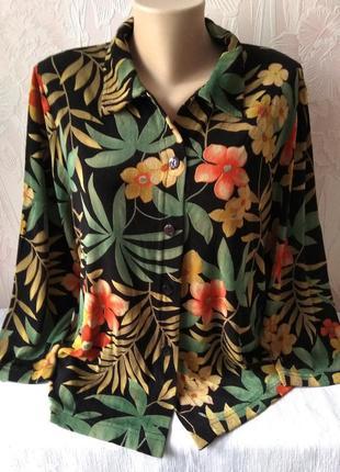 Яркая стрейчевая блуза большого размера
