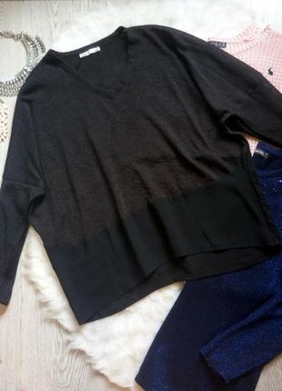 Черная комбинированная кофта пуловер кофточка широкий свитер с вырезом шифон оверсайз