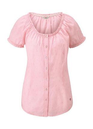 Романтичная хлопковая блуза в клетку tcm tchibo