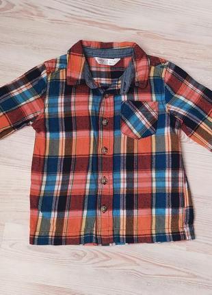 Детская оранжевая рубашка в клетку m&co