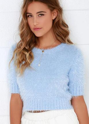 Пушистый голубой мятный бирюзовый короткий свитер кофта травка белая кроп топ теплый гольф