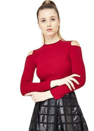 Бордовый свитер с открытыми плечами вырезами кофта длинный рукав красный темный