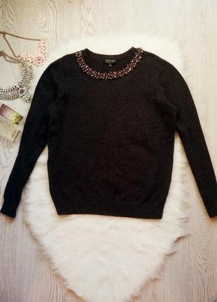 Серый свитер с шерстью ангора стразами камнями на воротнике кофта теплая вязаная