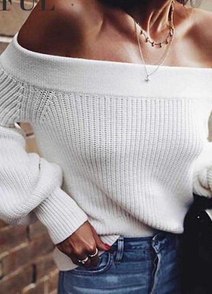 Белый свитер короткая кроп вязаная кофта на плечи оверсайз обьемными рукавами воланами