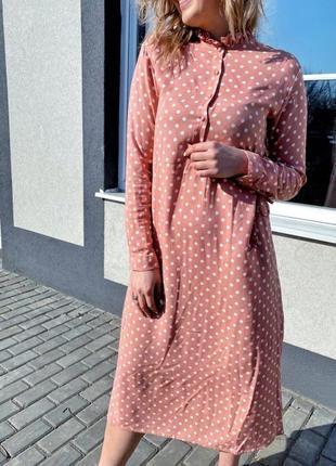 Платье миди из штапеля в горошек, турция