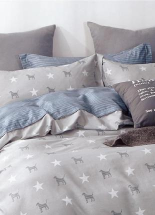 Подростковое полуторное постельное белье viluta сатин 402 звезды