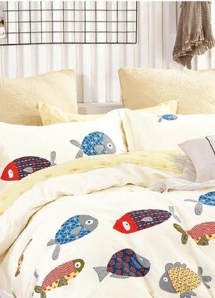 Подростковое полуторное постельное белье viluta сатин 403 рыбки