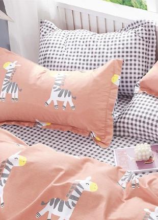 Подростковое полуторное постельное белье viluta сатин 400 жирафики