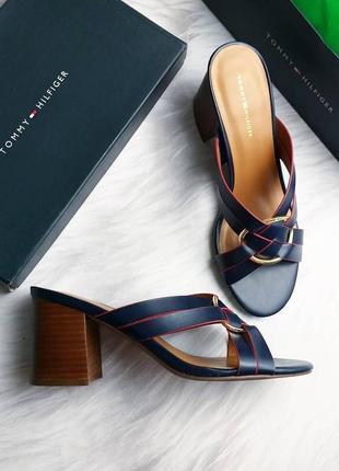 Tommy hilfiger оригинал синие босоножки сабо на широком каблуке