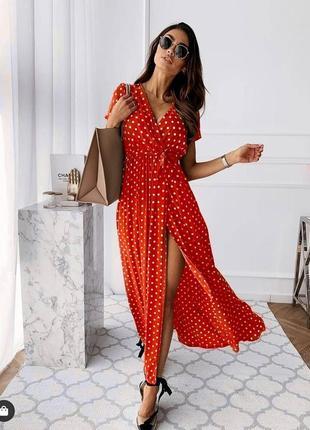 Новое красное длинное платье в горошек на запах