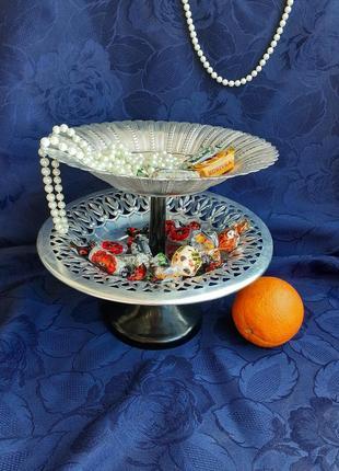 Фруктовница этажерка алюминиевая бакелит ссср конфетница пирожница винтаж