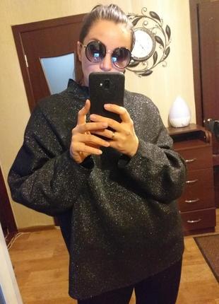 Крутейший свитшот реглан свитер oversize большой размер h&m zara,л-ххл