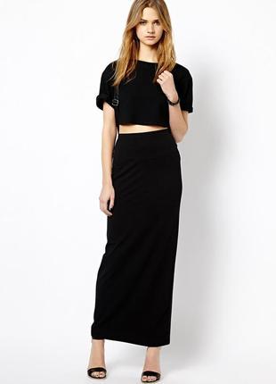 Трикотажная длинная юбка пояс резинка размер eur 38-40