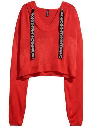 Укороченный кроп топ, худи,тонкий свитерок с капюшоном h&m