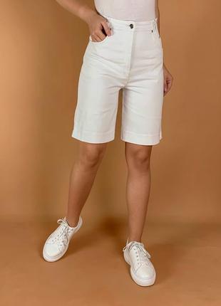 Шорты джинсовые белые высокая посадка