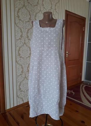100% льон  платье италия в стиле бохо в горошек