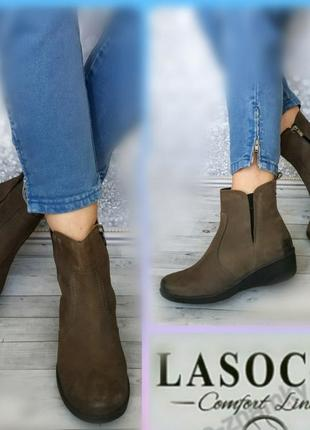 36-37р кожа нубук новые lasocki на флисе кожаные ботинки,полусапожки