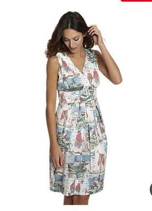 Натуральное летнее платье в морской принт