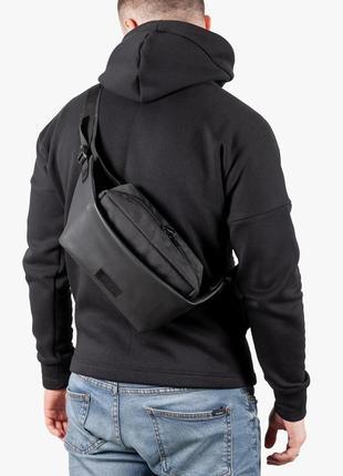 Черная мужская поясная сумка через плечо из эко кожи