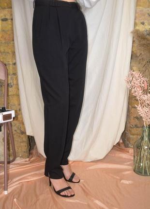 Винтажные классические штаны с защипами, зауженные брюки винтаж чёрные