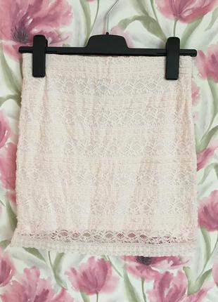 Короткая кружевная юбка h&m