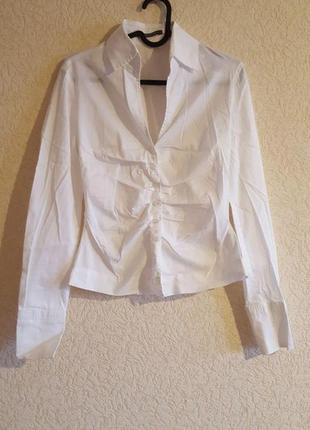 Белая рубашка женская классика rene lezard люкс бренд дизайнерская брендовая с рукавами