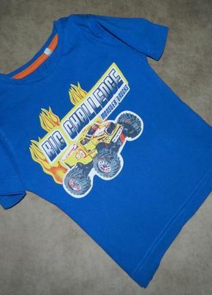 Футболка детская синяя с машиной monster truck hot wheels на мальчика 2-3 года palomino