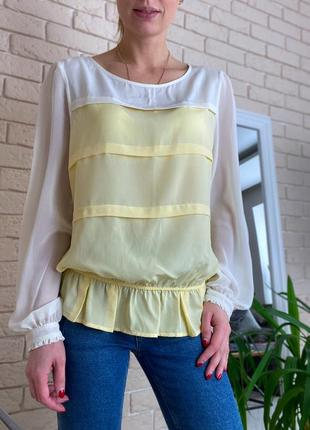 Жёлтая , белая блузка next